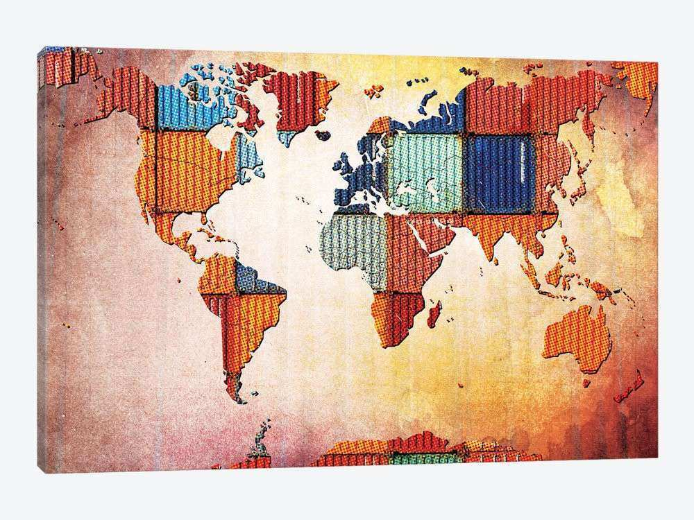 Tile World Map Canvas Wall Art by iCanvas