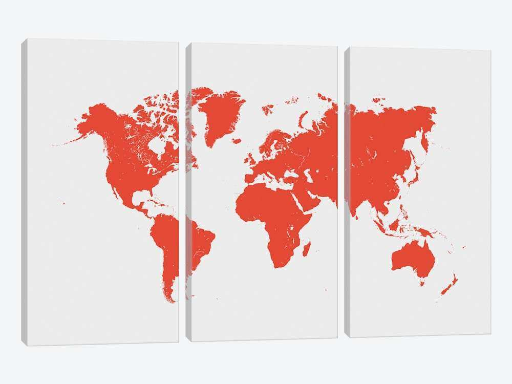 World Urban Map Red Canvas Wall Art by Urbanmap