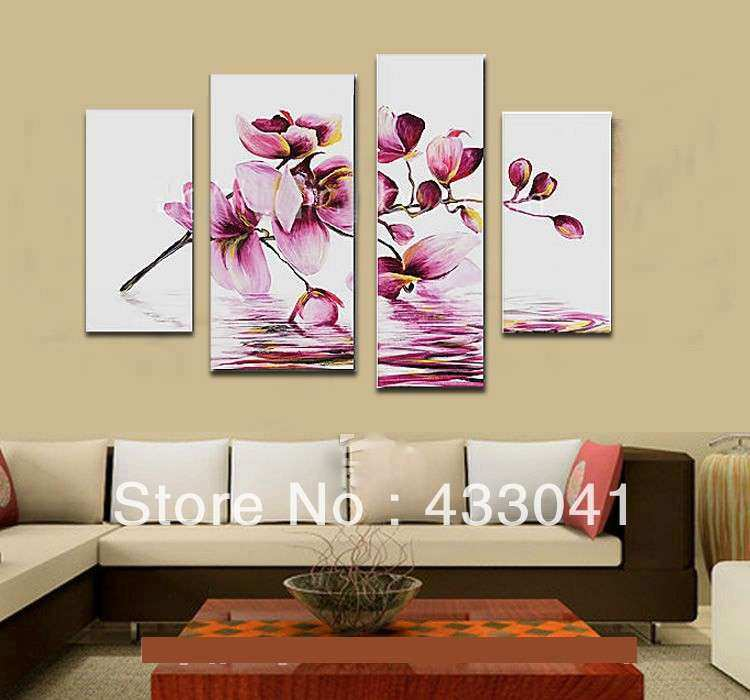 Hand painted 4 piece pure modern decorative flowers oil