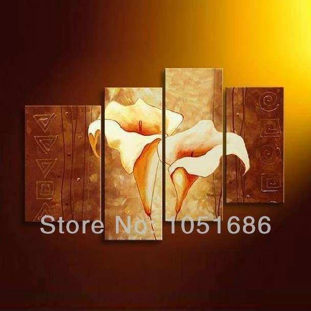 Hand Painted Modern Wall Canvas No Framed Calla Lily