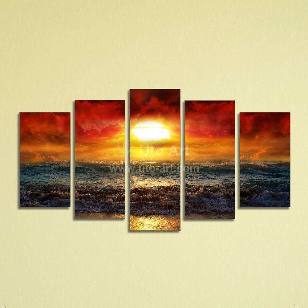 2017 Cheap 5 Panel Wall Art Painting Ocean Beach Decor