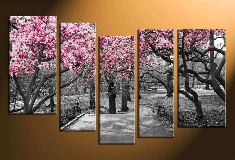 5 Piece Multi Panel Art Grey Autumn Trees