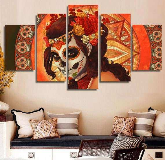 Day of the Dead Wall Art Prints 5 Panel Canvas Art