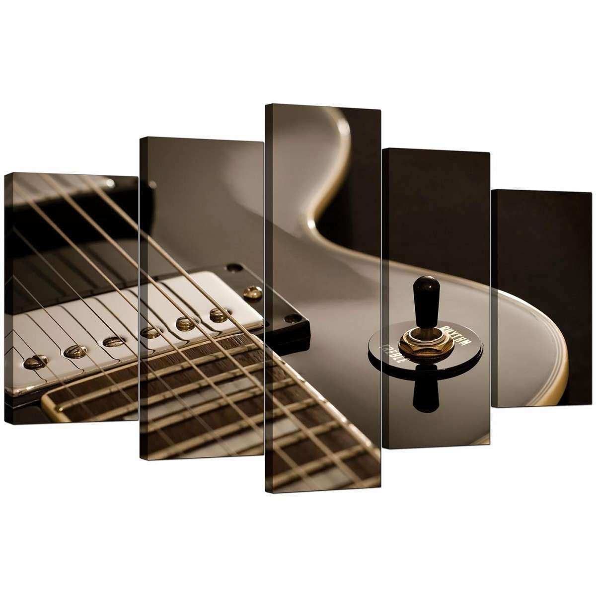 Extra Guitar Canvas Prints UK 5 Piece in Black & White