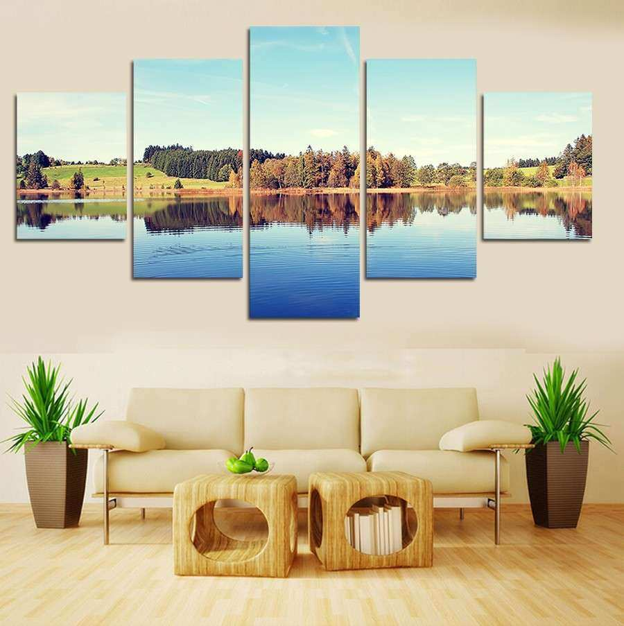 2016 Real New Arrival 5 Piece Landscape Wall Art Canvas