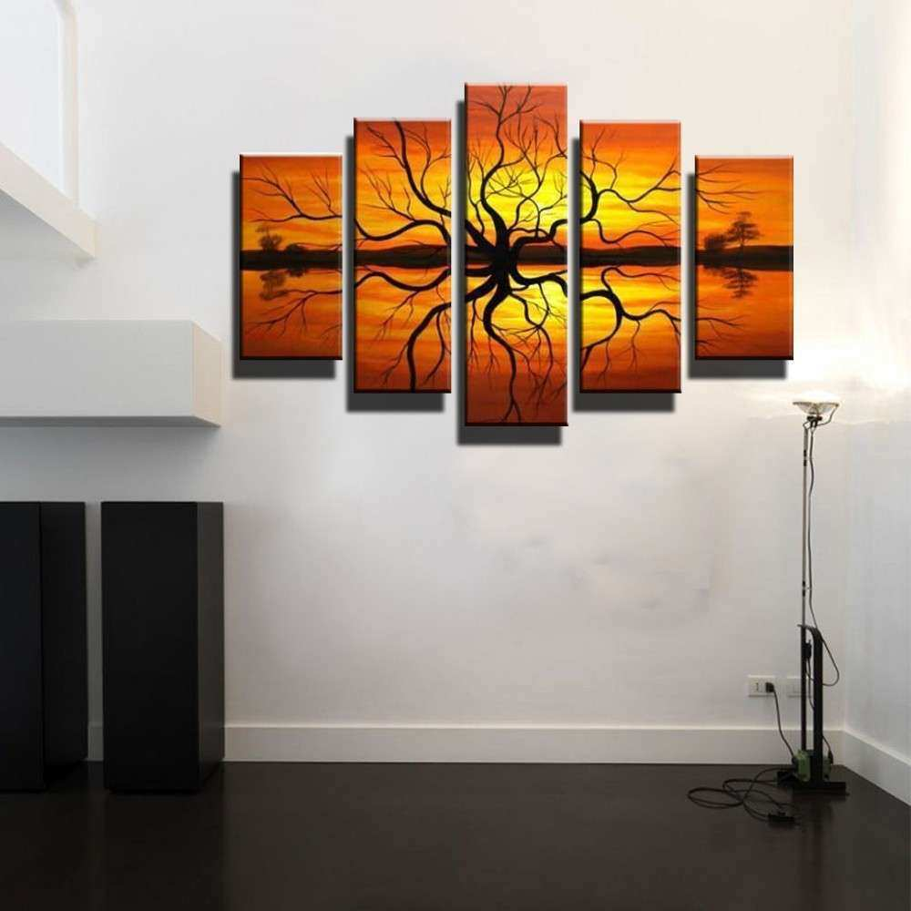 5 piece canvas wall art large Abstract modern orange