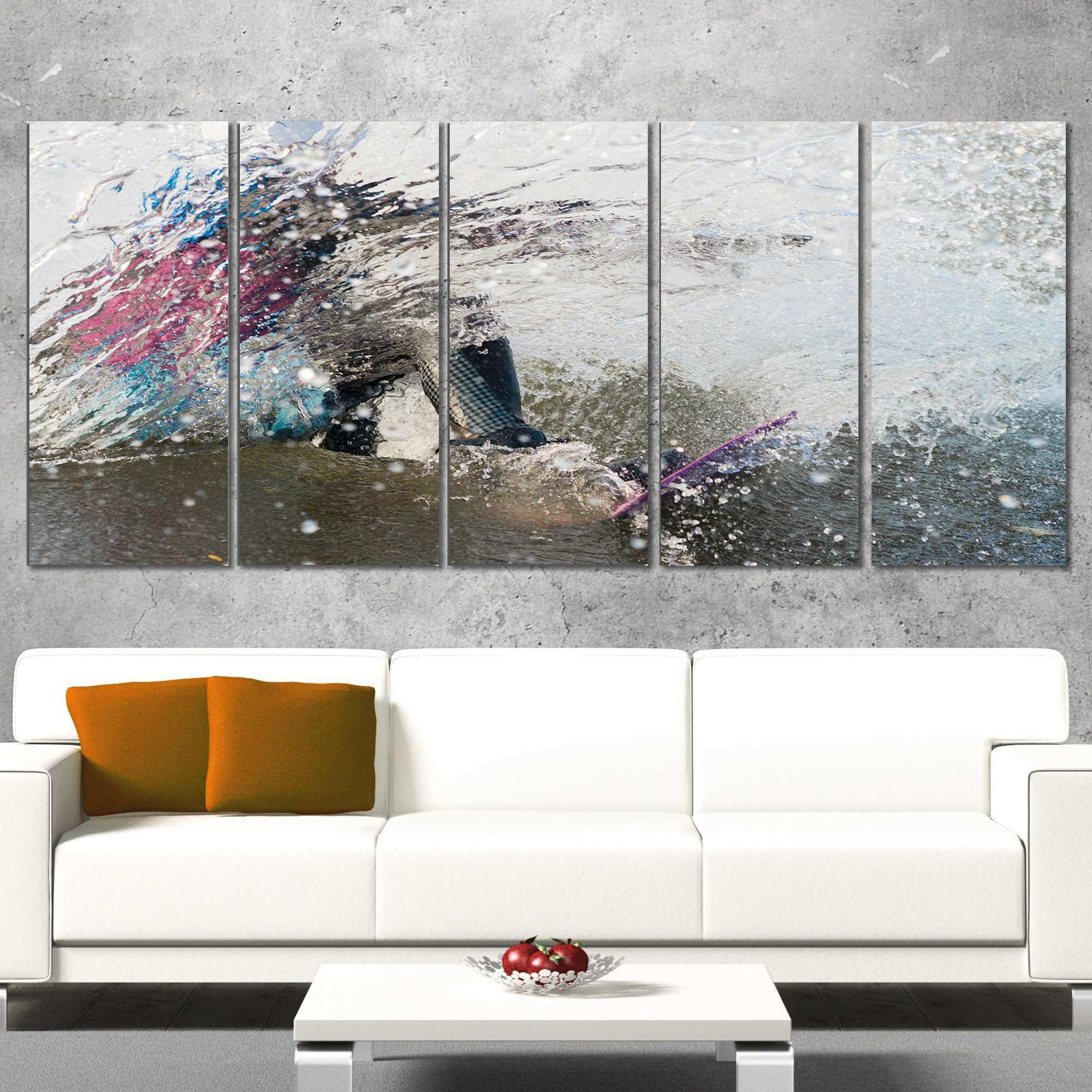 DesignArt Guy on a Wakeboard 5 Piece Wall Art on Wrapped