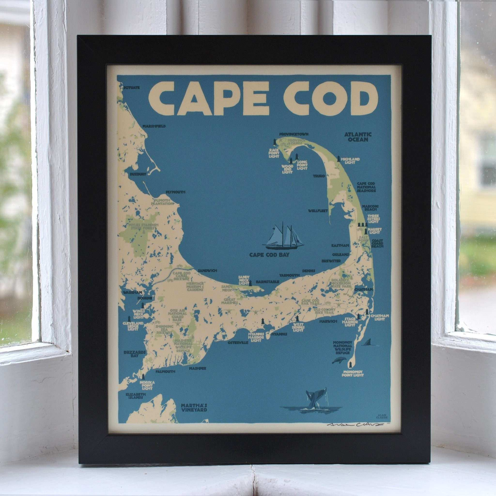 "Cape Cod Map Art Print 8"" x 10"" Framed Travel Poster"