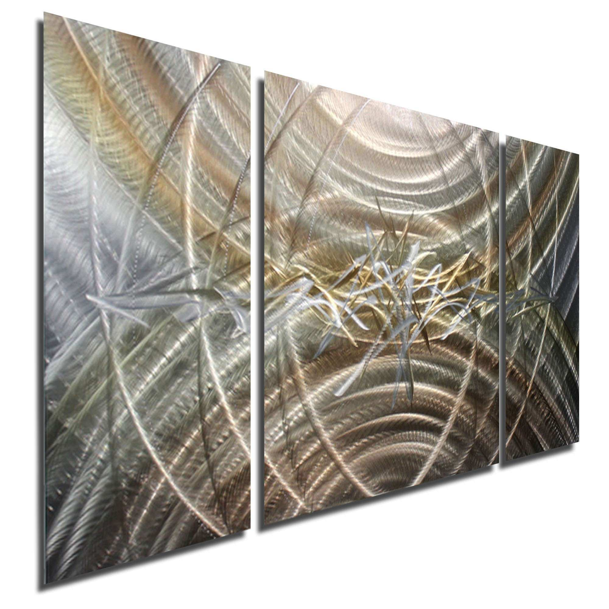 Resuscitate III Silver & Gold Modern Abstract Three