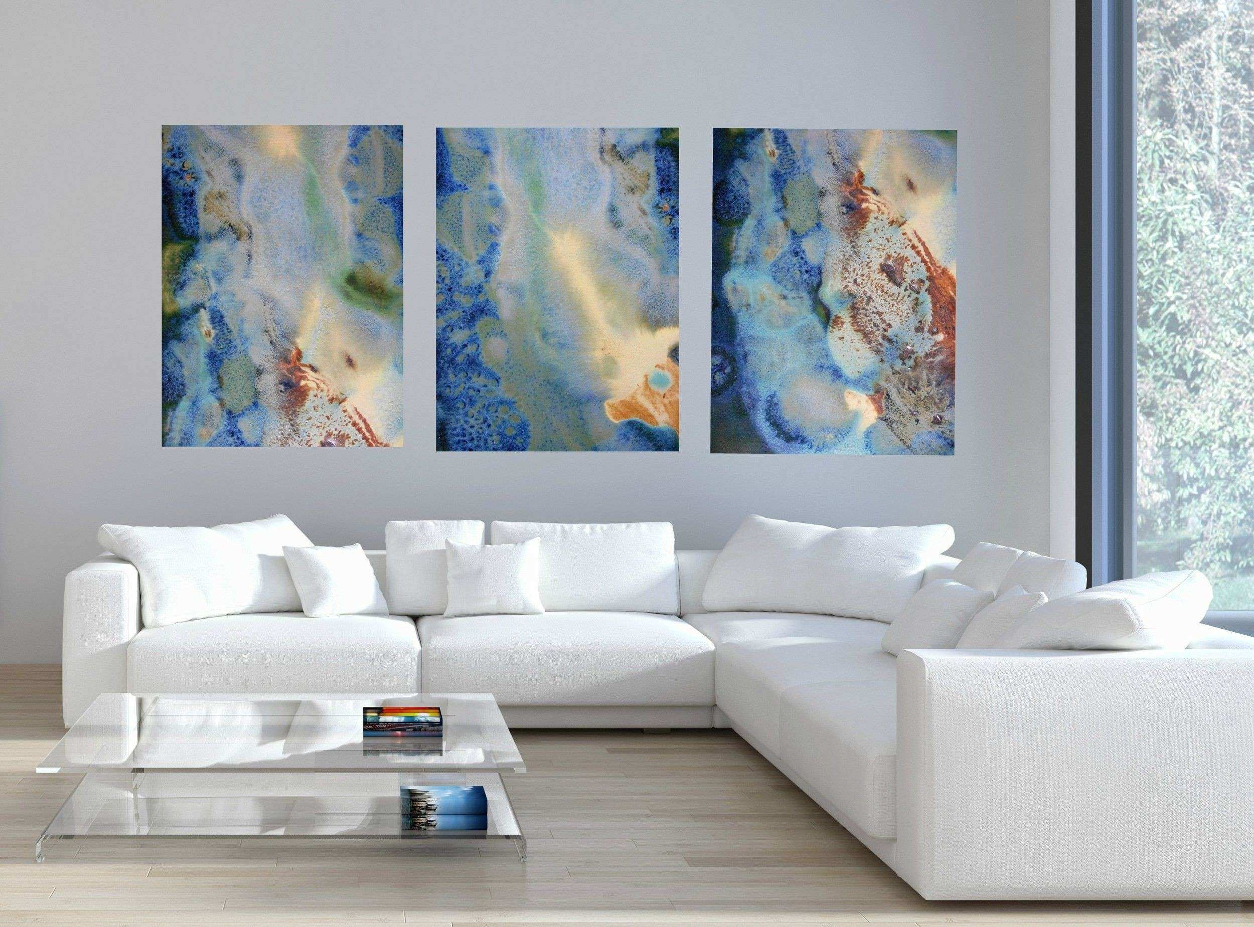 Set of 3 Rectangular Green Blue & Yellow Abstract Canvas Prints