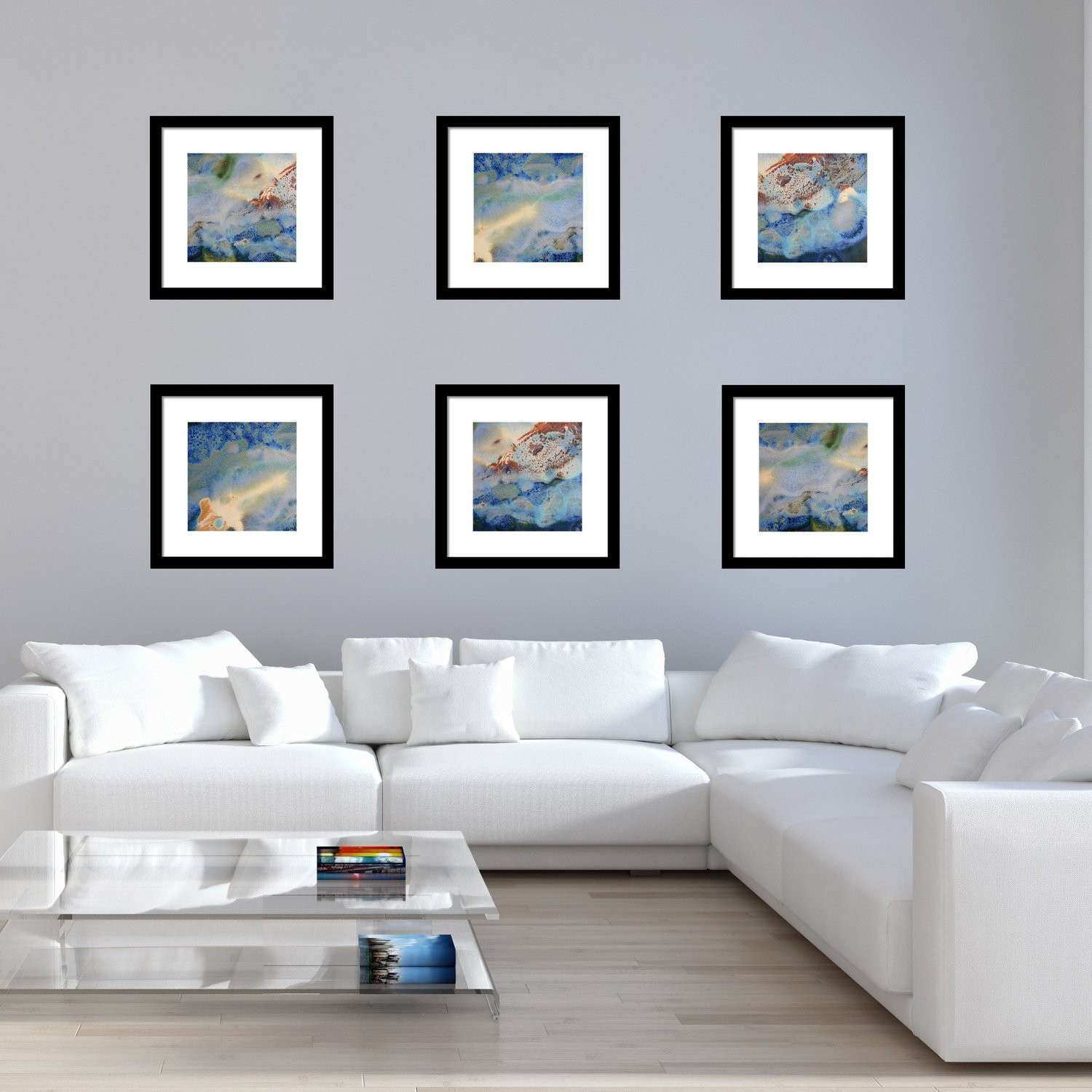 Set of 6 Abstract Framed Prints Square 17 18 & 19