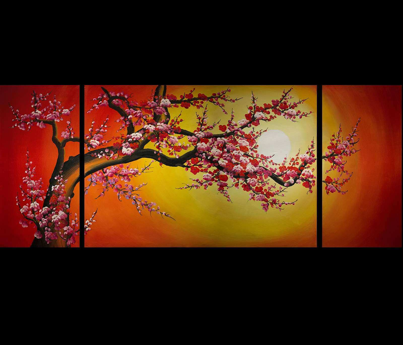 Chinese Cherry Blossom Feng Shui Oil Painting Abstract Art Modern