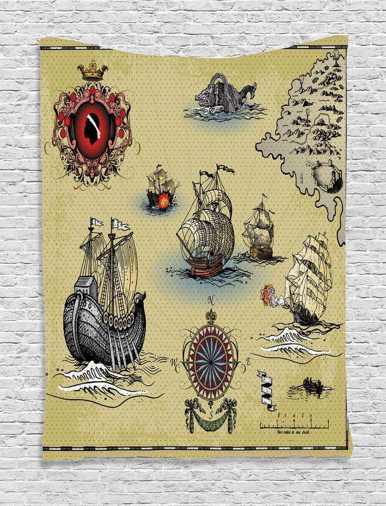 Hand Drawn Tapestry Wall Hanging Antique Map Pirate Home