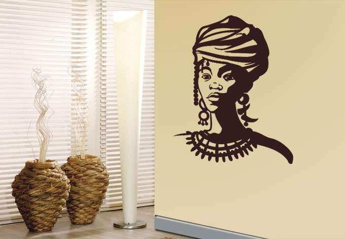 African Wall Art Inspirational African Woman Portrait Wall Decor Beautiful  Wall Sticker