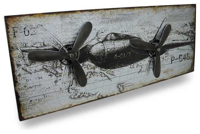 Vintage Military Style Airplane Metal Wall Panel with