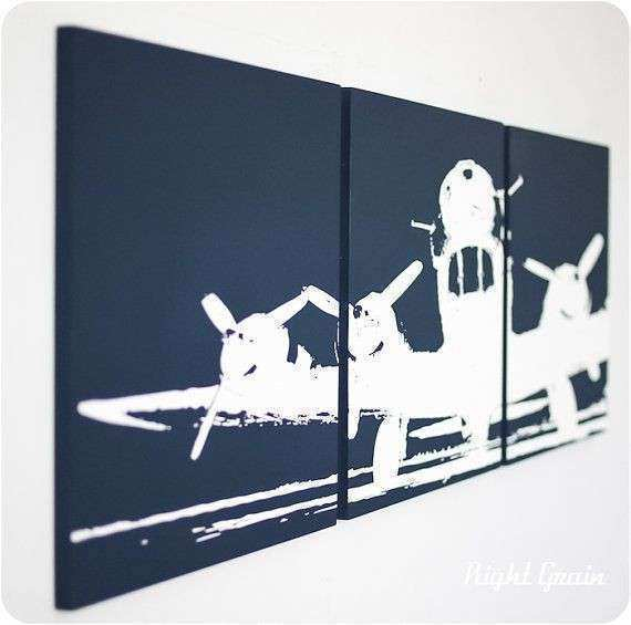 Airplane Wall Art Unique Screenprint Painting in Custom
