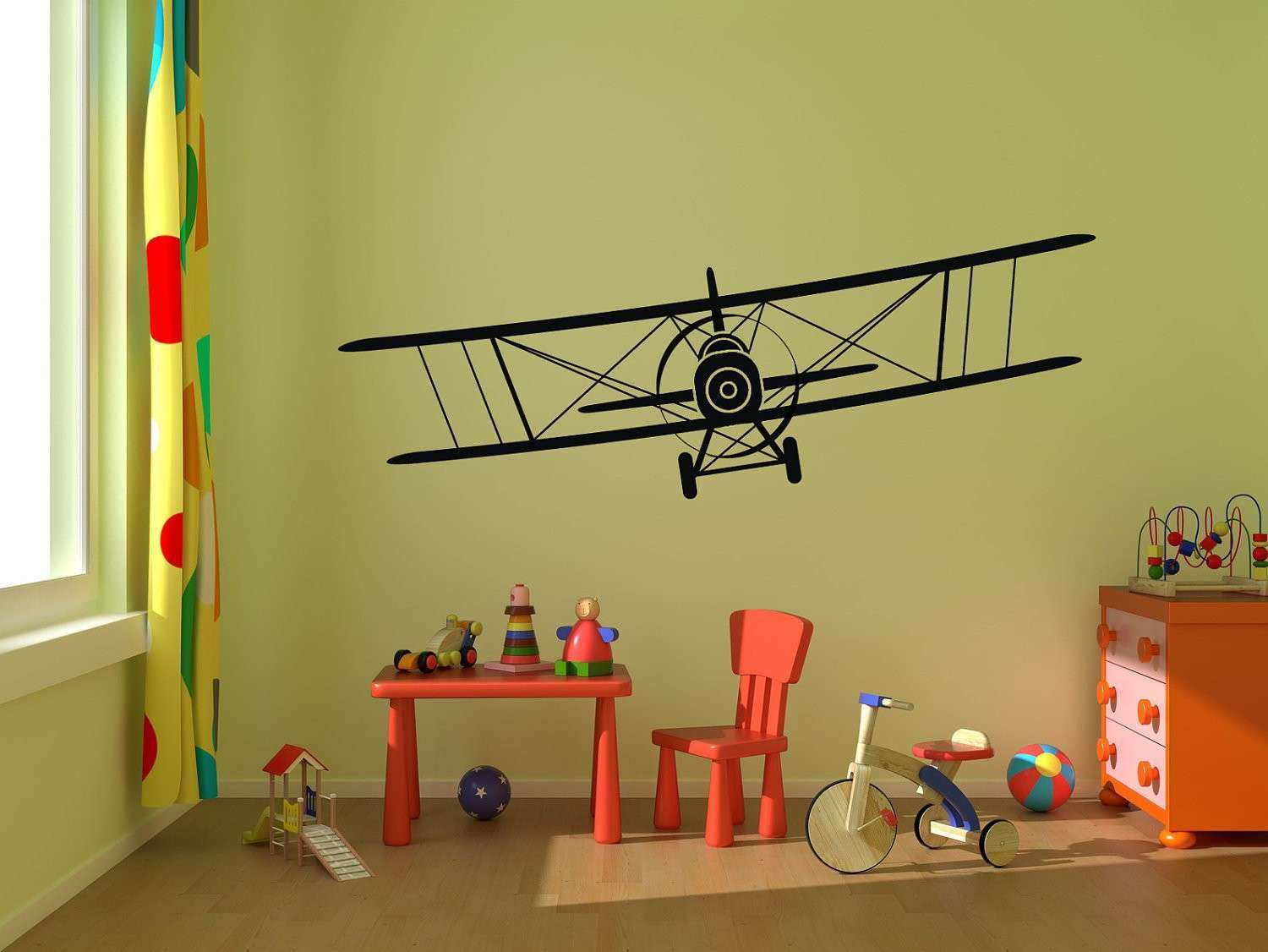 Airplane Wall Decal Biplane Vinyl Wall Graphics by StickerHog