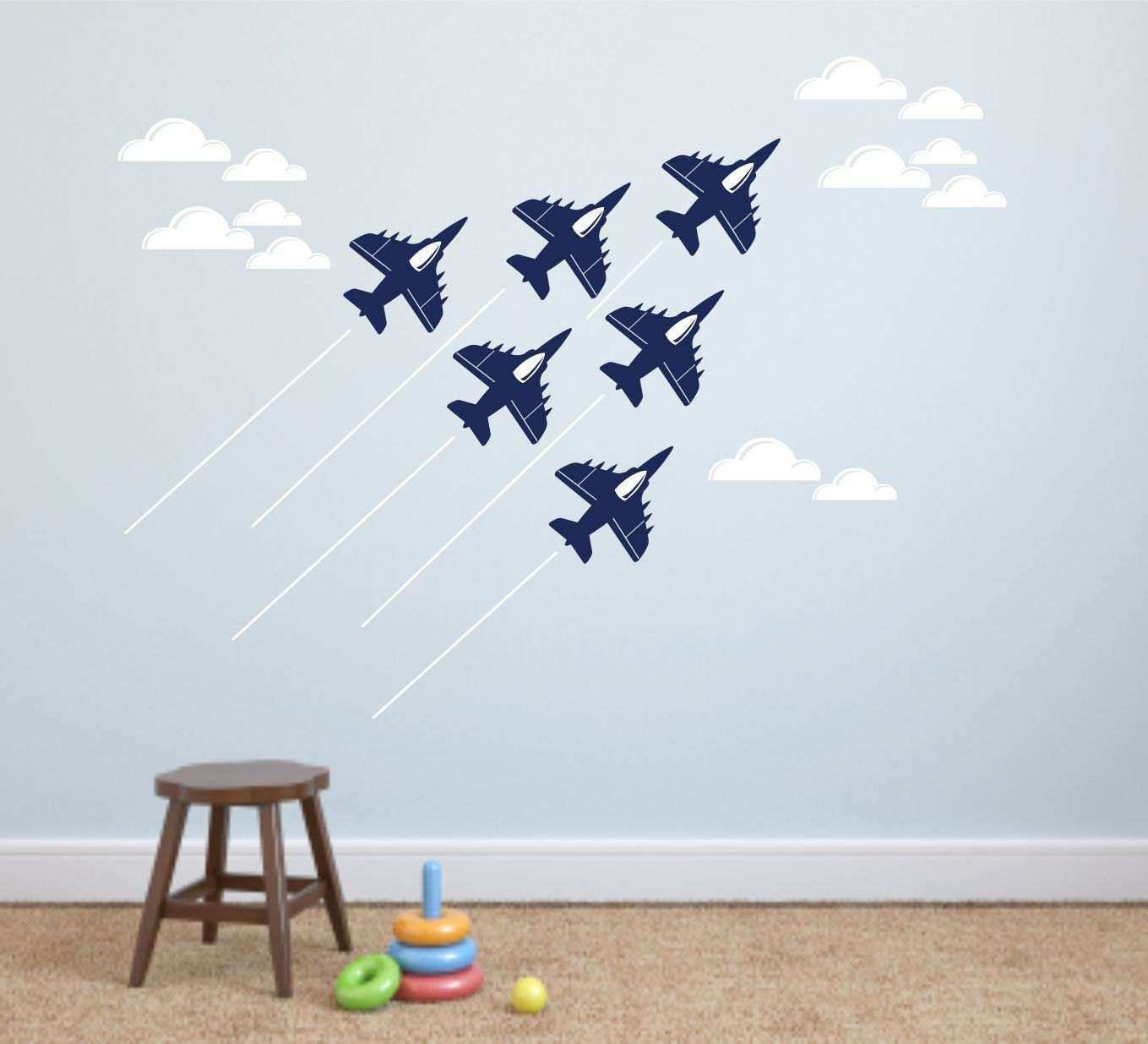 Jet airplane wall decal cloud wall decals Navy Air Force