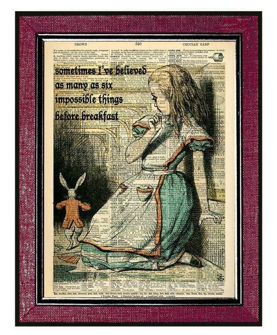 Items similar to ALICE IN WONDERLAND Wall Decor Book Art