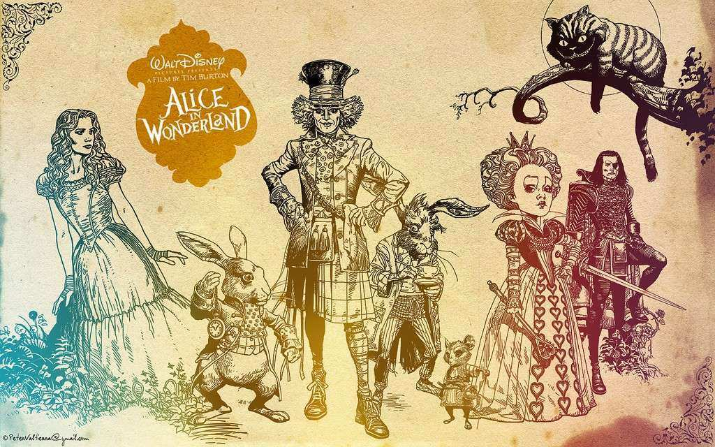 alice in wonderland walt disneys background wallpaper tim