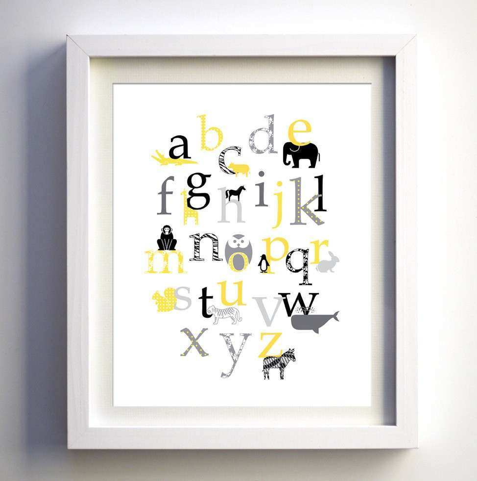 Gray Yellow Baby Nursery Art Baby nursery wall decor Animal