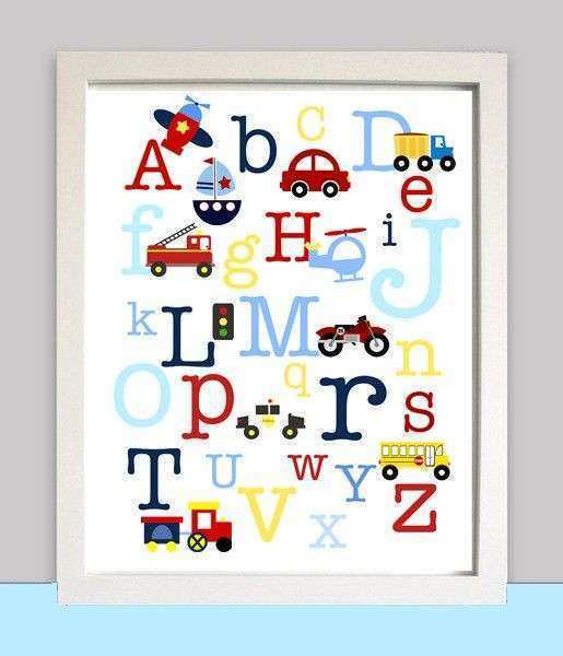 Nursery Wall Art Alphabet Transportation ABC CAR Truck
