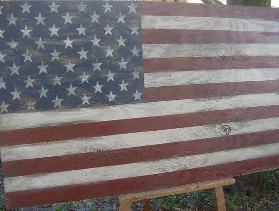Distressed American Flag wall decor by ATouchofChic on Etsy