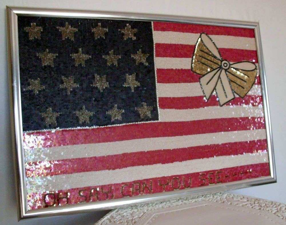 ONE OF A KIND HAND MADE SEQUIN AMERICAN FLAG w YELLOW