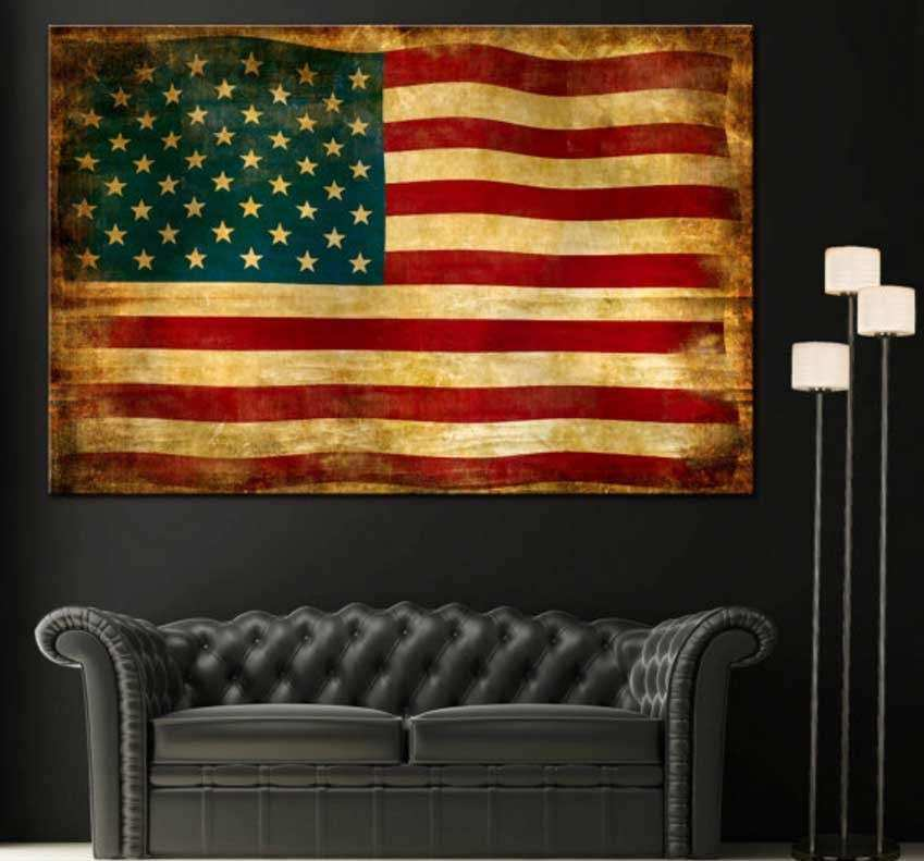 Vintage american flag wall art canvas giclee print