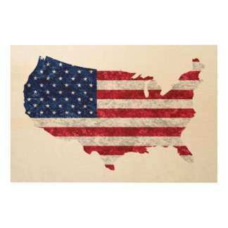 American Flag Map Wood Wall Art