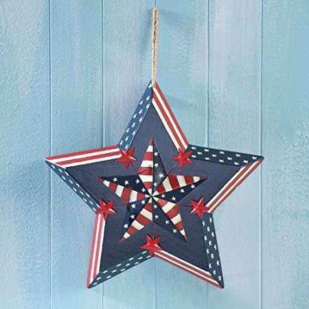 Wooden Country Patriotic 4th of July Red White Blue