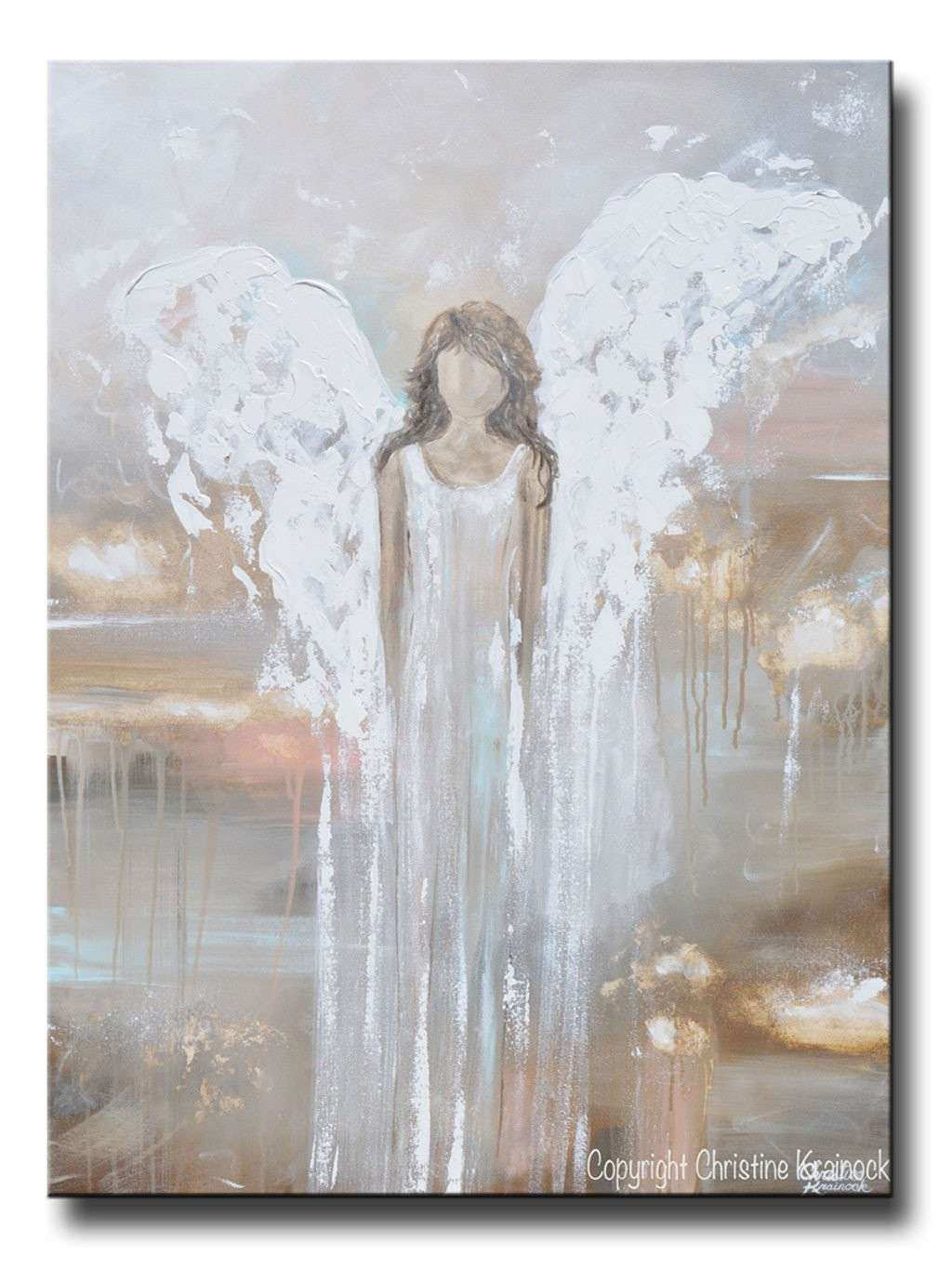 Art Abstract Angel Painting Guardian Angel Heaven Canvas