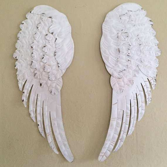 large Angel wings metal shabby chic white5 wall decor
