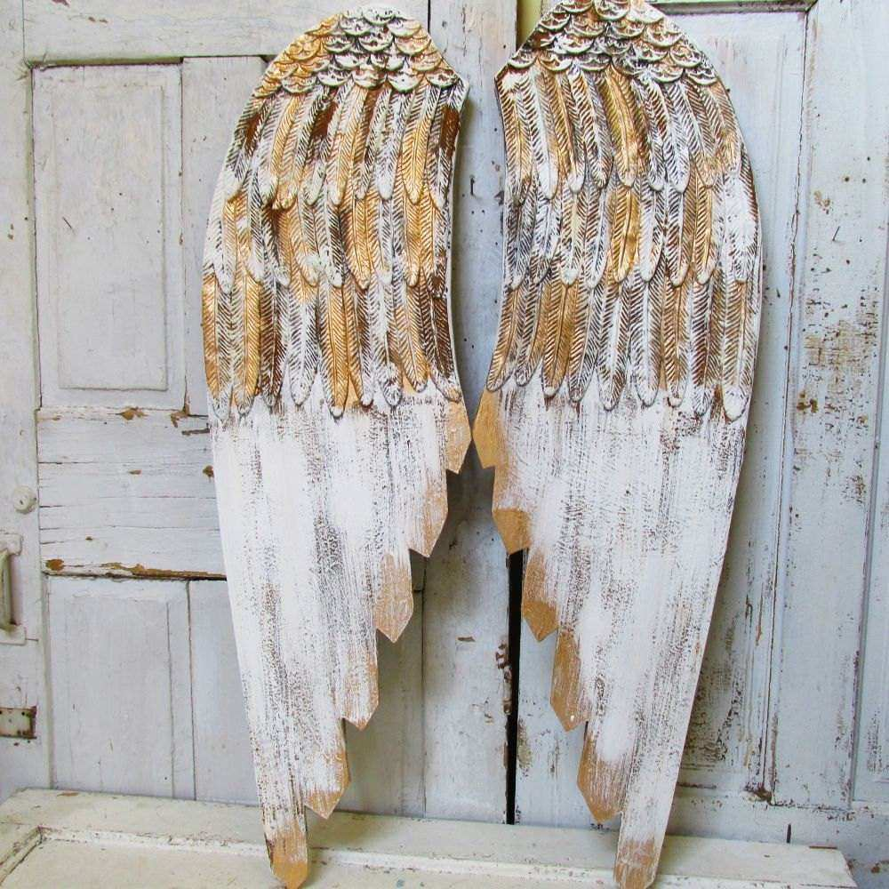 wooden angel wings wall hanging romantic shabby cottage
