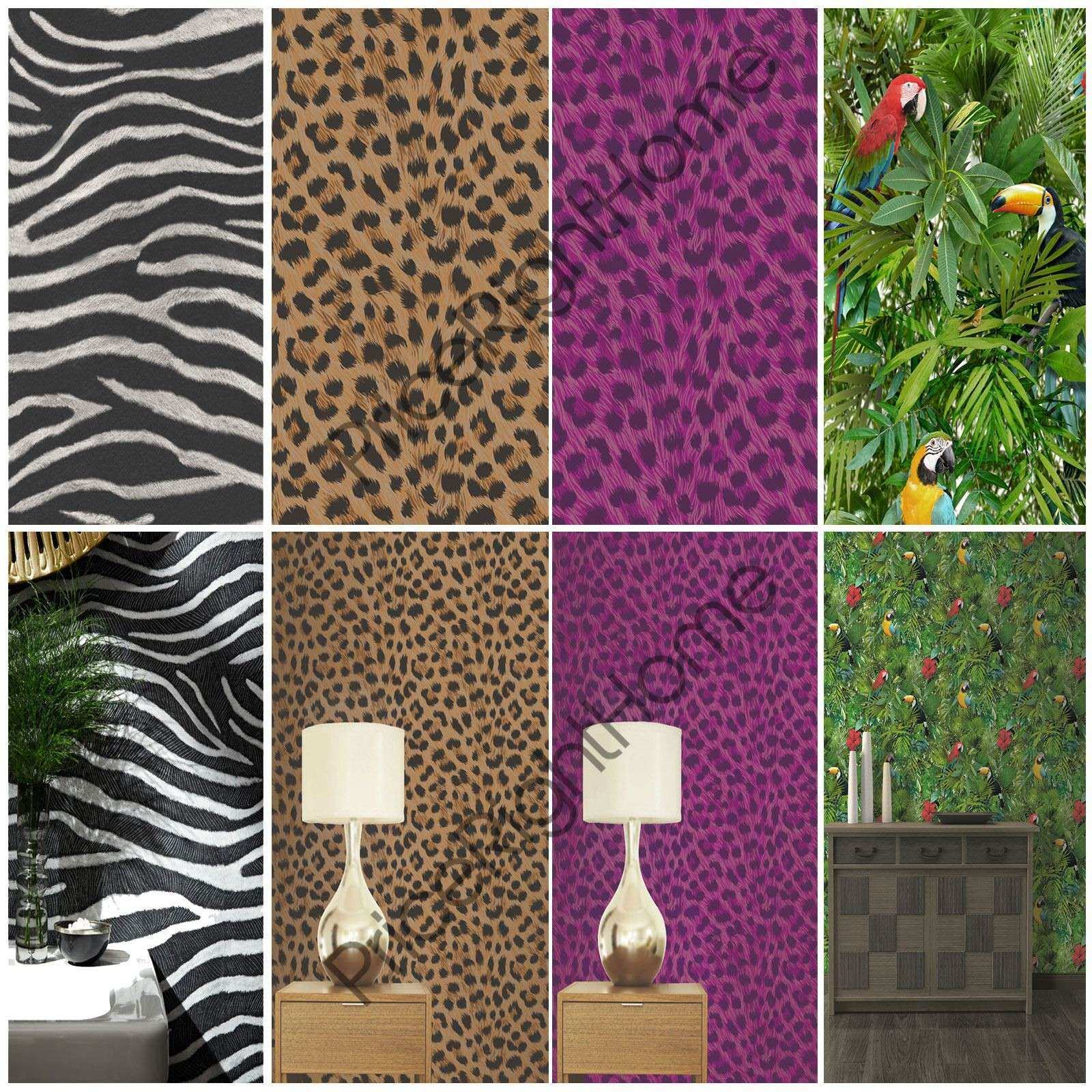 ANIMAL PRINT WALLPAPER WALL DECOR TIGER LEOPARD ZEBRA SNAKE SKIN