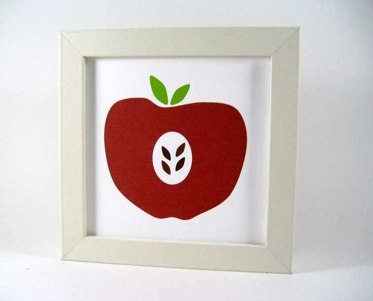 Red Apple Wall Art Print Home Decor Kitchen Decor Fruit