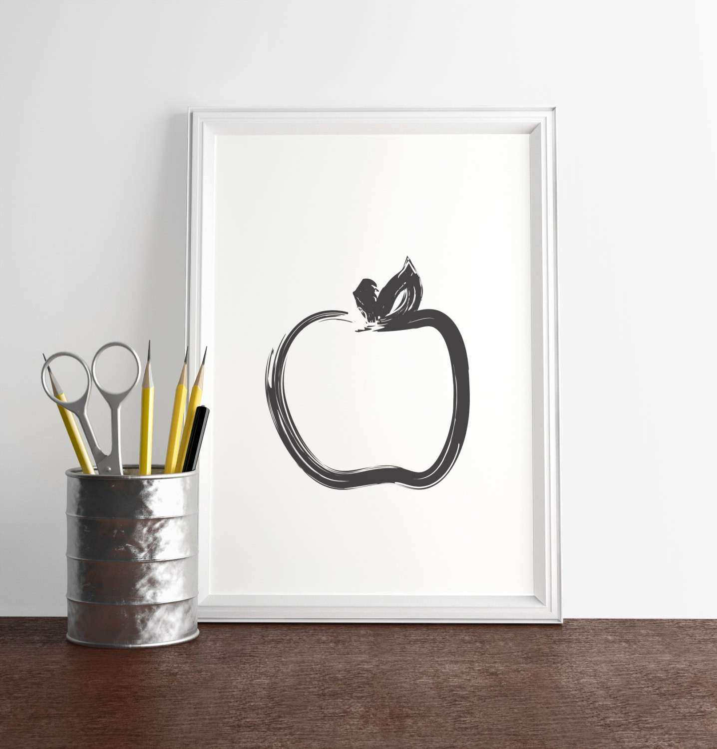 Apple Wall Decor for Kitchen Lovely Black Apple Print Minimal Wall Decor Modern Kitchen Art