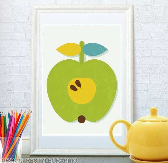 Apple Wall Decor for Kitchen New Apple Poster Dessert Wall Art Fruit Retro Poster Kitchen