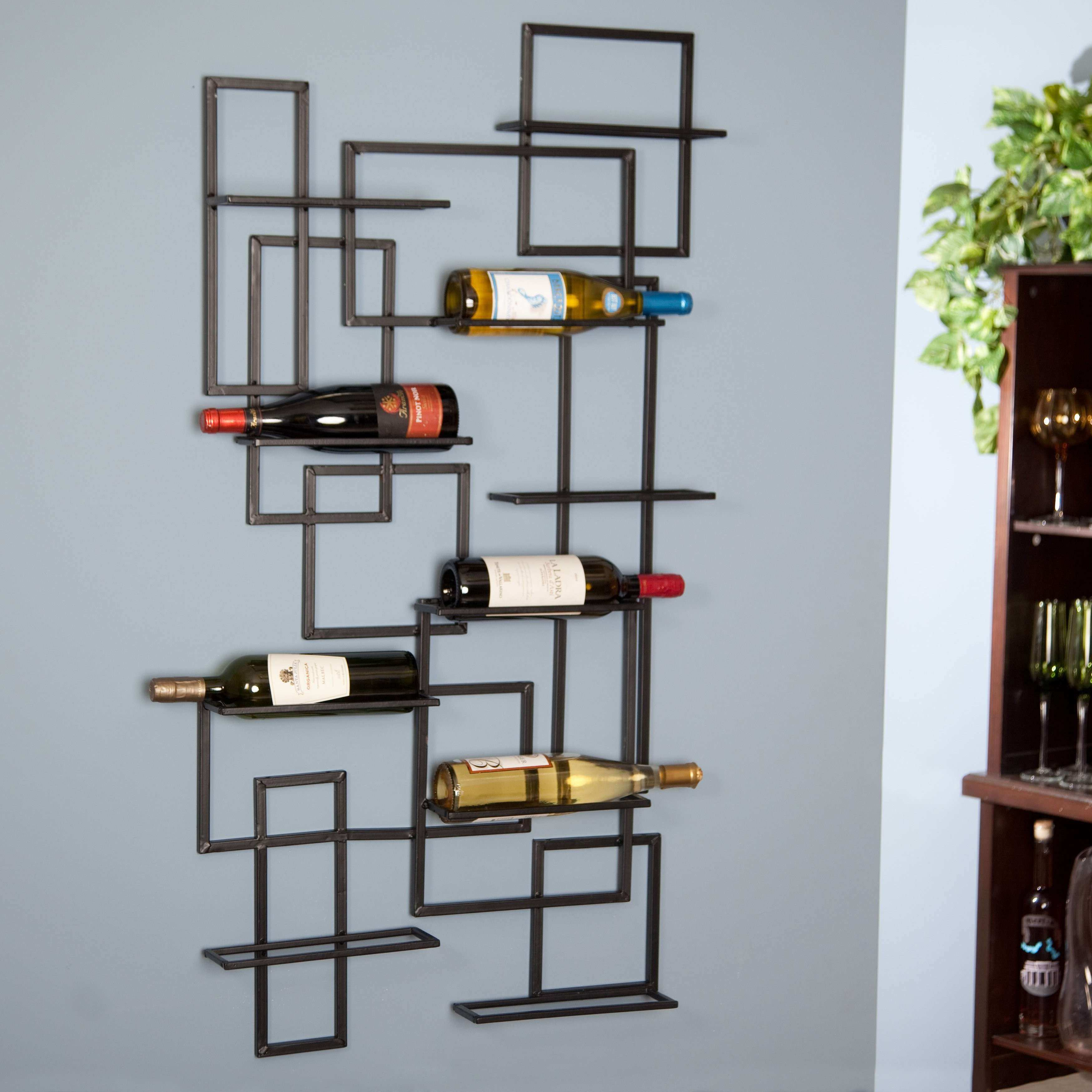 black steel rack with random arranging placed on the gray wall of