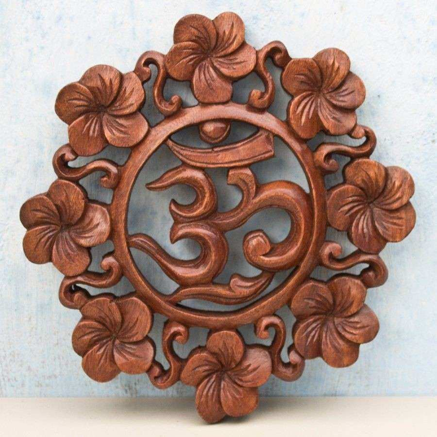 10in Balinese Om Kara Wooden Panel Handmade architectural