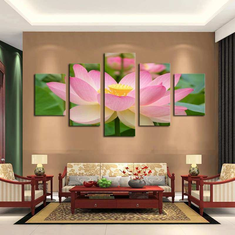 5 Panel Pink Lotus Modern Painting Canvas Wall Art Picture