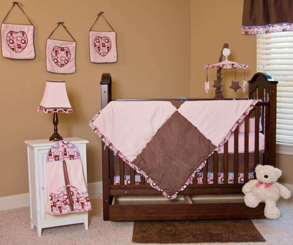 Nice Looking Baby Girl Room With Brown Wall Paint And