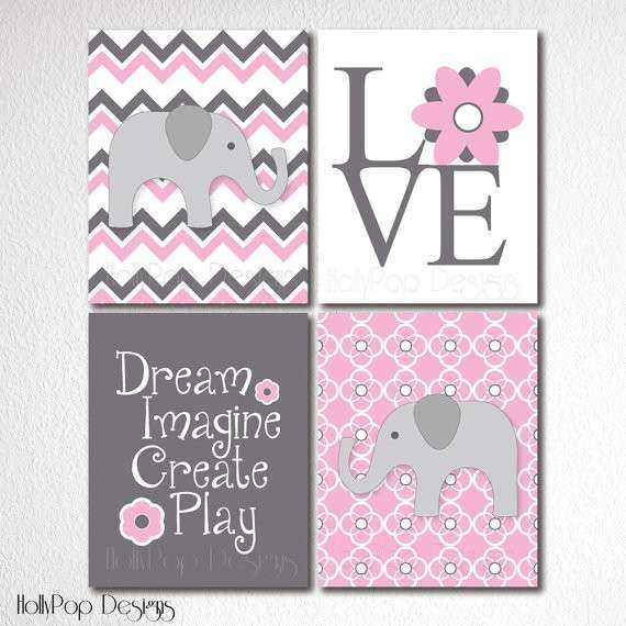 Baby Girl Nursery Wall Decor Ideas Inspirational Nursery Wall Decor Artwork for Kids Set Of 4 Prints Pink Gray