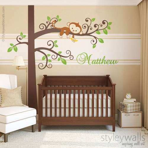 Monkey Wall Decal Jungle Tree Personalized Nursery Baby