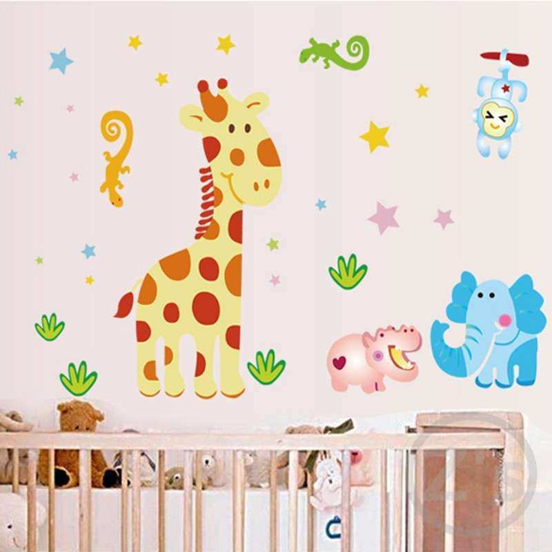 cartoon giraffe wall stickers for nursery baby room
