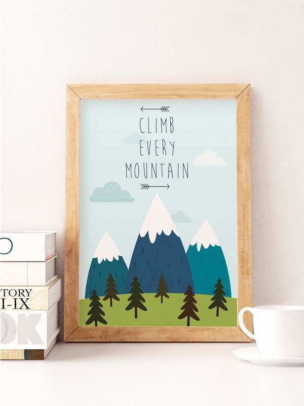 Nursery Illustration Baby Wall Art Climb Every Mountain