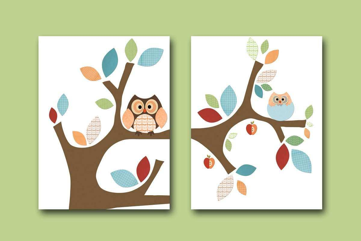 Neutral Nursery Canvas Baby Print Kids Wall Art Owl Nursery