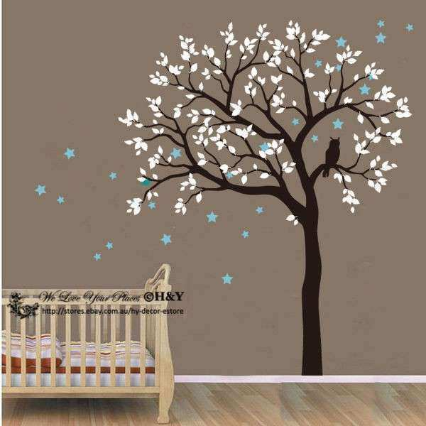 Owl Hoot Star Tree Wall Stickers Vinyl Decal Kids Nursery