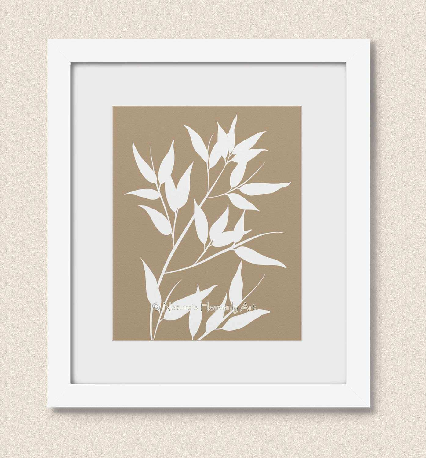 Tan Bamboo Wall Art Japanese Home decor 8 x 10 bamboo Leaves