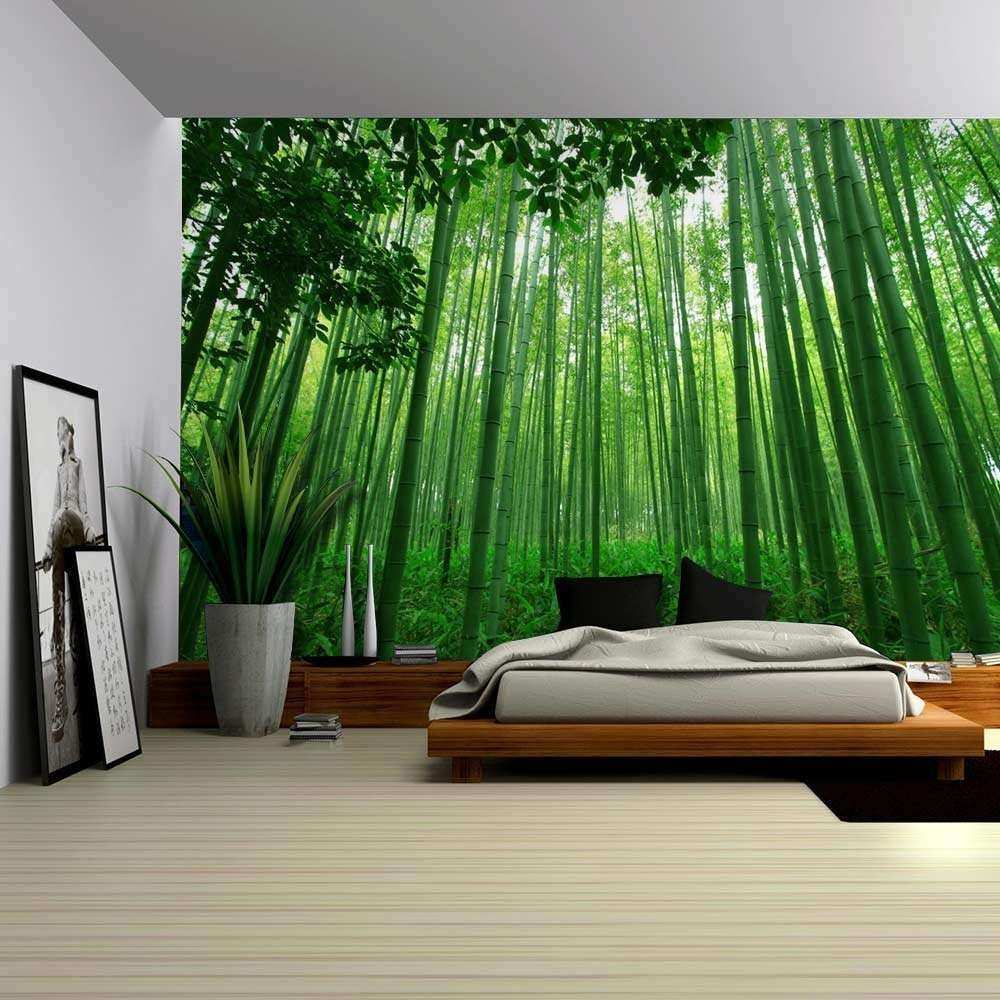 Bamboo Wall Decor Elegant Close Up View Into A Pure Green Bamboo